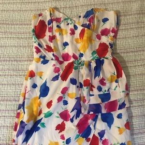 Floral cocktail strapless mini dress ASOS Topshop
